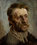 Fine Art - Painting, American:Modern  (1900 1949)  , ARTIST UNKNOWN (20th Century). Portrait of a Man. Oil oncanvas. 17-1/2 x 14-1/4 inches (44.5 x 36.2 cm). Signed indisti...