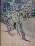 Fine Art - Painting, American:Antique  (Pre 1900), GEORGE RANDOLPH BARSE (American, 1861-1938). Tree, Capri,1891. Oil on panel. 9 x 7 inches (22.9 x 17.8 cm). Signed and ...