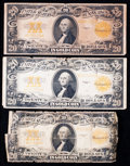 Large Size:Gold Certificates, Three Fr. 1187 $20 1922 Gold Certificates Good-Very Good or better.. ... (Total: 3 notes)