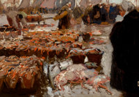 HANS VON BARTELS (German, 1856-1913) Fish Market, 1903 Oil on canvas 13-1/4 x 19 inches (33.7 x 4