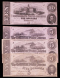 Confederate Notes:1862 Issues, T52 $10 1862.. T53 $5 1862. Three Examples.. ... (Total: 4 notes)