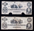 Confederate Notes:1862 Issues, CT46 $10 1862. Two Examples.. ... (Total: 2 notes)