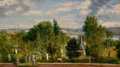 Fine Art - Painting, American:Antique  (Pre 1900), GEORGE LORING BROWN (American, 1814-1889). New England Landscapewith Cemetery (possibly Medford, MA), 1862. Oil on canv...