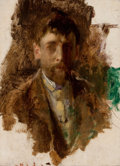 Fine Art - Painting, American:Antique  (Pre 1900), ROBERT FREDERICK BLUM (American, 1857-1903). Self-Portrait.Oil on board. 9-1/2 x 6-3/4 inches (24.1 x 17.1 cm). THE J...