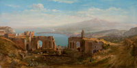 WILLIAM EVERETT (English, 1844-1908) Mt. Etna from Taormina Oil on canvas 12 x 24 inches (30.5 x