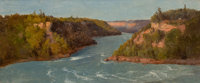 RÉGIS FRANÇOIS GIGNOUX (French, 1816-1882) Rapids at Niagara Falls, 1855 Oil on canvas 9-1/2 x 22