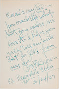 """Books:Americana & American History, Joe E. Brown (American Actor, Comedian, 1892-1973). Autograph NoteSigned. [N.p.], 3/24/37. Addressed """"Eddie my Pal:-"""", a fr..."""