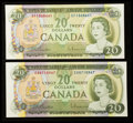 Canadian Currency: , BC-50a $20 1969 Two Examples. ... (Total: 2 notes)