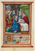 Books:Illuminated Manuscripts, [Illuminated Manuscript]. Illuminated Miniature of The Presentationin the Temple from a Book of Hours. [Central or Northern...