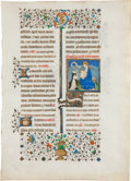 Books:Illuminated Manuscripts, [Illuminated Manuscript]. Illuminated Missal leaf featuring aminiature of a Cistercian monk with the Virgin Mary and Child. ...