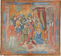 [Illuminated Manuscript]. Spanish Forger Large Miniature of The Presentation of a Portrait. [n.p., ca. 1900]
