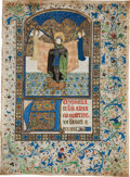 Books:Illuminated Manuscripts, [Illuminated Manuscript]. Illuminated Miniature of St. Adrian. [S.Netherlands, Bruges, n.d.]....