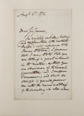 "Books:Literature Pre-1900, George Cruikshank (English Illustrator, 1792-1878). AutographLetter Signed. [N.p.]: Augt. 6th. 1874. Addressed ""Dear Sir Ja..."