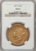 Liberty Double Eagles: , 1871-S $20 AU55 NGC. NGC Census: (324/534). PCGS Population(102/124). Mintage: 928,000. Numismedia Wsl. Price for problem ...