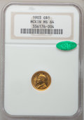 Commemorative Gold: , 1903 G$1 Louisiana Purchase/McKinley MS64 NGC. CAC. NGC Census:(500/863). PCGS Population (852/1052). Mintage: 17,500. Num...