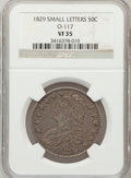 Bust Half Dollars, 1829 50C Small Letters VF35 NGC. O-117. NGC Census: (33/955). PCGSPopulation (66/1151). Mintage: 3,712,156. Numismedia Wsl...
