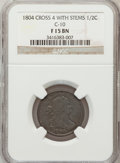 1804 1/2 C Crosslet 4, Stems Fine 15 Brown NGC. C-10. NGC Census: (0/0). PCGS Population (10/250). Numismedia Wsl. Price...