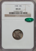 Barber Dimes: , 1908 10C MS65 NGC. CAC. NGC Census: (35/20). PCGS Population (37/15). Mintage: 10,600,545. Numismedia Wsl. Price for proble...