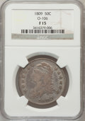 Bust Half Dollars, 1809 50C Normal Edge Fine 15 NGC. O-106. NGC Census: (3/635). PCGSPopulation (26/535). Mintage: 1,405,810. Numismedia Wsl....