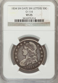Bust Half Dollars, 1834 50C Small Date, Small Letters VF25 NGC. O-114. PCGS Population(19/844). (#6166)...