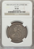 Bust Half Dollars, 1834 50C Small Date, Small Letters VF30 NGC. O-117. PCGS Population(34/810). (#6166)...