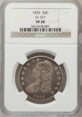 Bust Half Dollars, 1835 50C VF20 NGC. O-107. NGC Census: (7/771). PCGS Population(10/832). Mintage: 5,352,006. Numismedia Wsl. Price for prob...