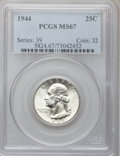 Washington Quarters: , 1944 25C MS67 PCGS. PCGS Population (55/0). NGC Census: (253/0).Mintage: 104,956,000. Numismedia Wsl. Price for problem fr...