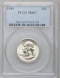 Washington Quarters: , 1949 25C MS67 PCGS. PCGS Population (35/1). NGC Census: (112/2).Mintage: 9,312,000. Numismedia Wsl. Price for problem free...