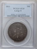 Bust Half Dollars: , 1811 50C Large 8 VF35 PCGS. PCGS Population (17/312). NGC Census:(24/651). Mintage: 1,203,644. Numismedia Wsl. Price for p...