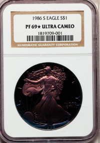 1986-S $1 Silver Eagle PR69 ★ Ultra Cameo NGC. NGC Census: (9/1043). Mintage: 1,446,778. Numismedia Wsl. Price for probl...