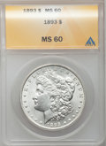Morgan Dollars, 1893 $1 MS60 ANACS. CDN: $750 Whsle. Bid for problem-free NGC/PCGS MS60. Mintage 389,792....