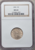Liberty Nickels: , 1896 5C MS64 NGC. NGC Census: (92/52). PCGS Population (107/68).Mintage: 8,842,920. Numismedia Wsl. Price for problem free...
