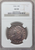 Bust Half Dollars: , 1834 50C Small Date, Small Letters AU58 NGC. NGC Census: (463/622).PCGS Population (121/266). Mintage: 6,412,004. Numismed...