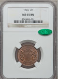 Two Cent Pieces: , 1865 2C MS65 Brown NGC. CAC. NGC Census: (353/42). PCGS Population(36/4). Mintage: 13,640,000. Numismedia Wsl. Price for p...
