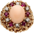 Estate Jewelry:Rings, Coral, Ruby, Diamond, Gold Ring. ...
