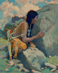 EANGER IRVING COUSE (American, 1866-1936) Indian Scout, circa 1932-1933 Oil on board 10 x 8 inche