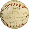 Autographs:Baseballs, Circa 1937-38 Montreal International League Team Signed Baseballwith Rabbit Maranville. Hall of Fame jokester Rabbit Mara...