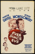 "Movie Posters:Comedy, Ever Since Eve (Warner Brothers, 1937). Window Card (14"" X 22""). Comedy. ..."