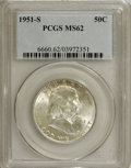 Franklin Half Dollars: , 1951-S 50C MS62 PCGS. PCGS Population (24/1918). NGC Census:(23/1445). Mintage: 13,696,000. Numismedia Wsl. Price for NGC/...