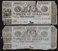 Obsoletes By State:Arkansas, (Little Rock), AR- Arkansas Treasury Warrant $10 1864 Two Examples. ... (Total: 2 notes)