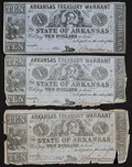 Obsoletes By State:Arkansas, (Little Rock), AR- Arkansas Treasury Warrant $10 1863 Three Examples. ... (Total: 3 notes)