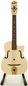 Musical Instruments:Acoustic Guitars, Circa 1950's Maccaferri White Plastic Archtop Acoustic Guitar....