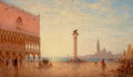 Fine Art - Painting, European, CHARLES-CLEMENT CALDERON (French, 1870-1906). View Of The PiazzaSan Marco, Venice. Oil on canvas. 11 x 18-1/4 inches (2...