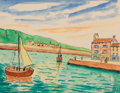 Fine Art - Painting, European, ELISÉE MACLET (French, 1881-1962). Dieppe, France. Watercolor and ink on board. 8 x 10-1/2 inches (20.3 x 26.7 cm). Sign...