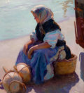 Fine Art - Painting, European, FRANCISCO GRAS (Spanish, b. 1878). Waiting for the Catch.Oil on canvas. 38-1/2 x 35-1/4 inches (97.8 x 89.5 cm). Signed...