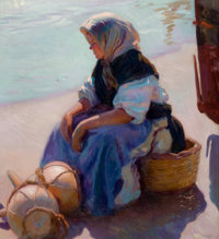 FRANCISCO GRAS (Spanish, b. 1878) Waiting for the Catch Oil on canvas 38-1/2 x 35-1/4 inches (97