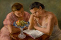 Fine Art - Painting, American, GLADYS ROCKMORE DAVIS (American, 1901-1967). The Reading Lesson(Two Girls). Oil on canvas. 20 x 30 inches (50.8 x 76.2 ...