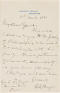 """Autographs:U.S. Presidents, Rutherford B. Hayes Autograph Letter Signed """"R. B. Hayes"""" aspresident...."""