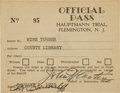 Miscellaneous:Ephemera, [Charles Lindbergh]. Official Pass to the Bruno Hauptmann LindberghBaby Kidnapping Trial....