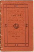 Books:Americana & American History, John A. Brown. A Hand-Book of Exeter, New Hampshire. Exeter:John Templeton, 1888. Quarter Millennial edition, 1...